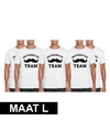 5x vrijgezellenfeest team t shirt wit heren maat l