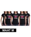 5x vrijgezellenfeest team t shirt zwart dames maat m