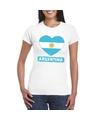 Argentinie hart vlag t shirt wit dames