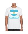 Argentinie hart vlag t shirt wit heren