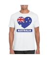 Australie hart vlag t shirt wit heren