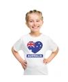 Australie hart vlag t shirt wit jongens en meisjes