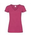 Basic v hals katoenen t shirt fuchsia voor dames