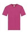 Basic v hals katoenen t shirt fuchsia voor heren