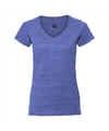 Basic v hals t shirt vintage washed denim blauw voor dames