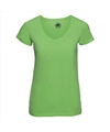 Basic v hals t shirt vintage washed lime voor dames