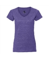 Basic v hals t shirt vintage washed paars voor dames
