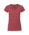 Basic v hals t shirt vintage washed rood voor dames