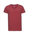 Basic v hals t shirt vintage washed rood voor heren