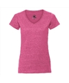 Basic v hals t shirt vintage washed roze voor dames