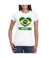 Brazilie hart vlag t shirt wit dames