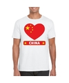 China hart vlag t shirt wit heren