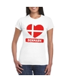 Denemarken hart vlag t shirt wit dames