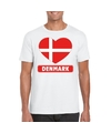 Denemarken hart vlag t shirt wit heren