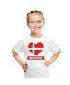 Denemarken hart vlag t shirt wit jongens en meisjes