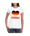 Duitsland hart vlag t shirt wit dames