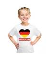 Duitsland hart vlag t shirt wit jongens en meisjes