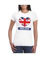 Engeland hart vlag t shirt wit dames