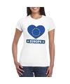 Europa hart vlag t shirt wit dames