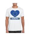Europa hart vlag t shirt wit heren