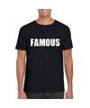 Famous tekst t shirt zwart heren