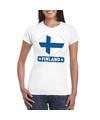 Finland hart vlag t shirt wit dames