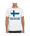 Finland hart vlag t shirt wit heren