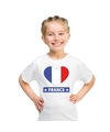 Frankrijk hart vlag t shirt wit jongens en meisjes