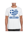 Griekenland hart vlag t shirt wit heren