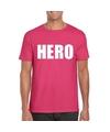 Hero tekst t shirt roze heren