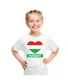 Hongarije hart vlag t shirt wit jongens en meisjes