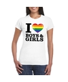 I love boys girls regenboog t shirt wit dames