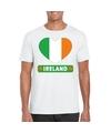Ierland hart vlag t shirt wit heren
