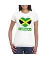 Jamaica hart vlag t shirt wit dames