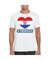 Kroatie hart vlag t shirt wit heren