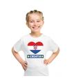 Kroatie hart vlag t shirt wit jongens en meisjes