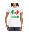 Mexico hart vlag t shirt wit dames