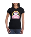 Miss magic de eenhoorn t shirt zwart dames