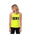 Neon geel sport shirt singlet sexy dames