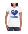 Nieuw zeeland hart vlag t shirt wit dames
