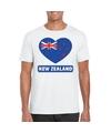 Nieuw zeeland hart vlag t shirt wit heren
