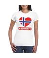 Noorwegen hart vlag t shirt wit dames