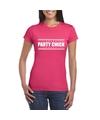 Party chick t shirt fuscia roze dames