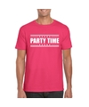 Party time t shirt fuscia roze heren