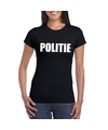 Politie tekst t shirt zwart dames