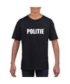 Politie tekst t shirt zwart kinderen