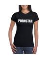 Pornstar tekst t shirt zwart dames