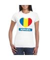 Roemenie hart vlag t shirt wit dames