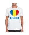 Roemenie hart vlag t shirt wit heren