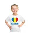 Roemenie hart vlag t shirt wit jongens en meisjes